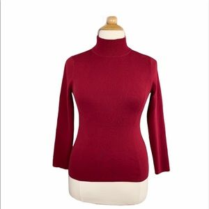 Chico's Red Knit Long Sleeve Turtleneck Sweater